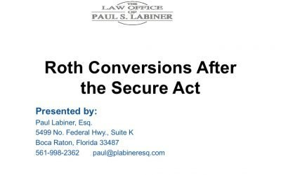 Roth conversions after the Secure Act.
