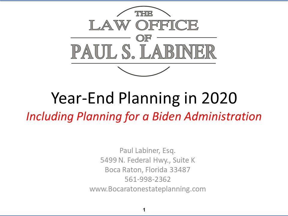 end of year 2020 tax planning